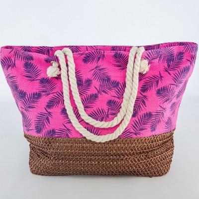 Летняя пляжная сумка яркая розовая в морской тематике 211-02