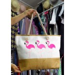 Фото Красивая летняя сумка белая с розовыми фламинго 211-04