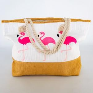 Красивая летняя сумка белая с розовыми фламинго 211-04
