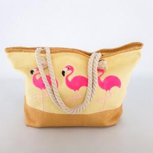 Сумка пляжная бежевая на канатах красивый принт с фламинго 211-05