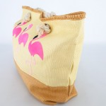 Фото Сумка пляжная бежевая на канатах красивый принт с фламинго 211-05