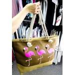 Фото Модная плетенная пляжная сумка коричневая с фламинго 211-06