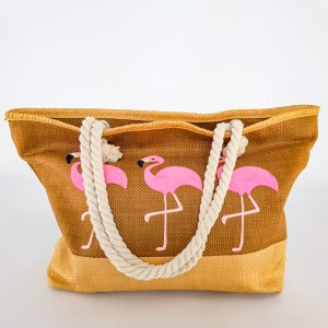 46e12bfc6102 Фото Модная плетенная пляжная сумка коричневая с фламинго 211-06