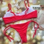Фото Купальник раздельный бикини мягкая чашка с вкладышем плавки бразилиана красный 139-13