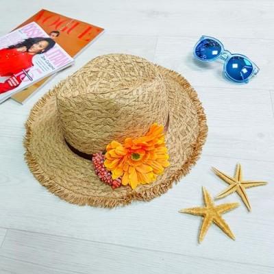 Шляпа коричневая оранжевый цветок 502-06-2