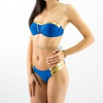 Фото Купальник раздельный бикини уплотненная чашка, плавки бразилиана синий с золотом 139-08-1