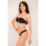 Фото Купальник раздельный бикини уплотнённая  чашка на косточках с push-up плавки бразилиана чёрный 139-18-1