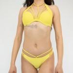 Фото Купальник раздельный уплотнённая  чашка плавки бразилиана жёлтый 139-22