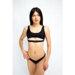 Фото Купальник раздельный бикини мягкая чашка с вкладышем плавки бразилиана чёрный 135-46-2