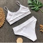 Фото Купальник раздельный бикини мягкая чашка с вкладышем плавки бразилиана высокая белый 135-49-2