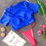 Фото Купальник раздельный бикини мягкая чашка с вкладышем топ синий плавки стринги 154-11