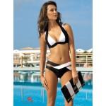 Фото Купальник раздельный бикини уплотненная чашка с вкладышем с push-up плавки слип чёрно-белый 130-168