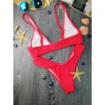 Фото Купальник раздельный бикини мягкая чашка с вкладышем плавки бразилиана красный 154-01