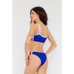 Фото Купальник раздельный бикини мягкая чашка с вкладышем плавки слип бразилиана синий 154-03