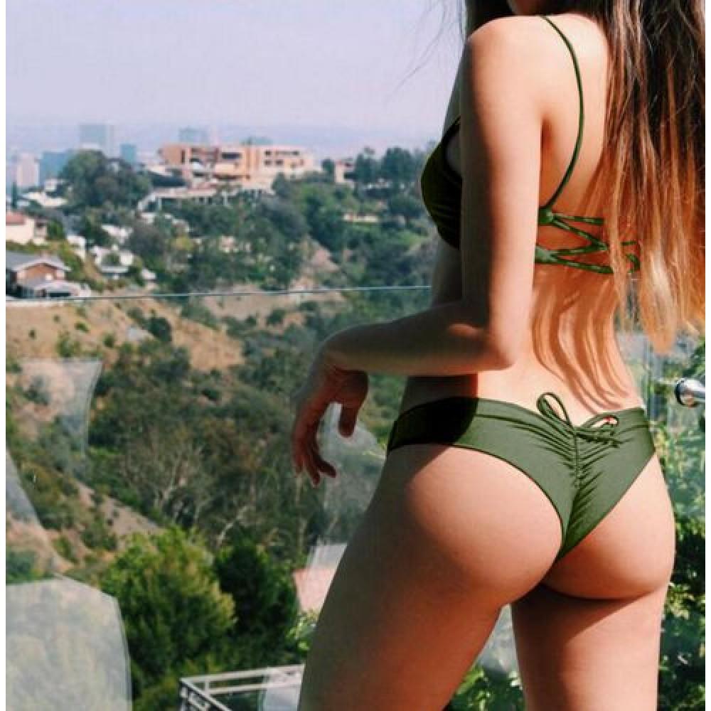 Фото Купальник раздельный бикини мягкая чашка с вкладышем плавки слип бразилиана хаки 154-05