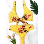 Фото Купальник раздельный бикини мягкая чашка с вкладышем плавки бразилиана с высокой талией ярко-жёлтый 154-06