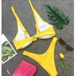 Фото Купальник раздельный бикини мягкая чашка с вкладышем плавки бразилиана жёлтый 154-08