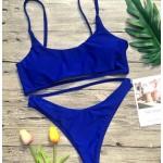 Фото Купальник раздельный бикини мягкая чашка с вкладышем плавки бразилиана с высокой талией синий 154-10-1