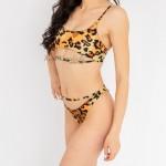 Фото Купальник раздельный бикини мягкая чашка с вкладышем плавки бразилиана высокая талия леопардовый 154-10-2