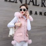Фото Жилет розовый с капюшоном 221-03