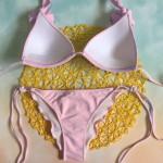 Фото Купальник раздельный бикини розовый уплотнённая чашка плавки бразилиана 139-25
