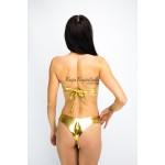 Фото Купальник раздельный бандо золотой уплотнённая чашка на косточках плавки чайка  139-28-1