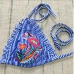Фото Купальник раздельный бикини голубой с вышивкой мягкая чашка с вкладышем плавки бразилиана 139-24