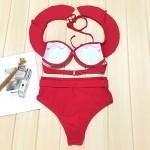 Фото Купальник раздельный бикини красный с воланом мягкая чашка с вкладышем на косточках плавки слип высокая талия 139-34