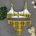 Фото Купальник раздельный бикини жёлто-чёрная клеточка мягкая чашка с вкладышем плавки бразилиана 139-26