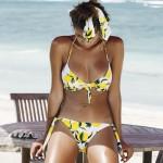 Фото Купальник раздельный бикини белый с лимонами мягкая чашка с вкладышем плавки бразилиана 136-16