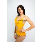 Фото Купальник слитный жёлтый мягкая чашка с вкладышем плавки слип 136-15