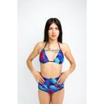 Фото Купальник раздельный бикини мягкая чашка с вкладышем плавки слип высокая талия синий 125-39-1
