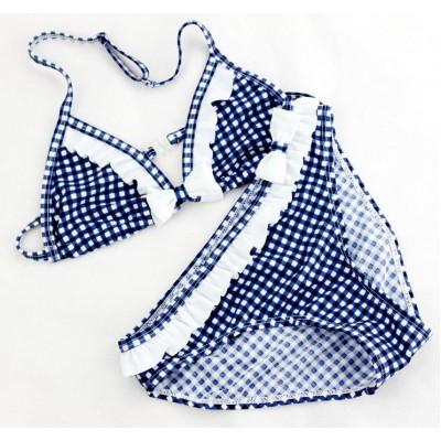 Купальник раздельный детский синий белые рюши  160-02