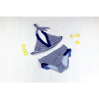 Купальник раздельный детский полосатый синие рюши 160-03
