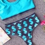 Фото Купальник раздельный бикини голубой мягкая чашка с вкладышем плавки высокая талия 154-12-1