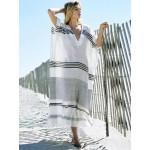 Фото Туника пляжная длинная чёрно-белая коттон 146-44