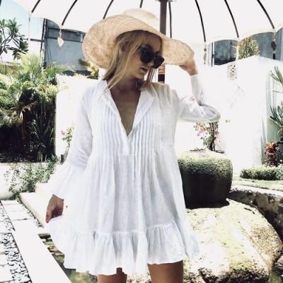 Пляжное платье короткое белое коттон 146-43
