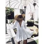 Фото Пляжное платье короткое белое коттон 146-43
