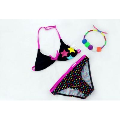 Купальник раздельный детский чёрно-розовый 160-04-1