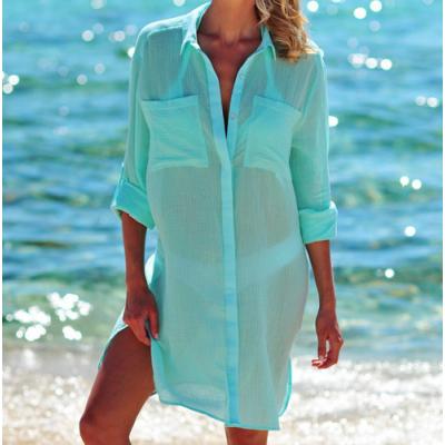Пляжная туника-рубашка бирюзовая 146-51-1