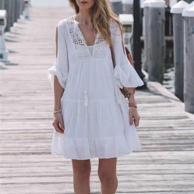 Платье пляжное короткое белое с гипюром 146-50