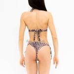 Фото Купальник раздельный бикини леопард уплотнённая чашка с вкладышем плавки слип 135-61