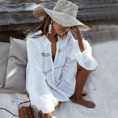 Пляжна сукня коротка біла на довгий рукав 146-52