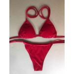 Фото Купальник раздельный  бикини, мягкая чашка с вкладышем, бразилиана, красный бархат 130-63