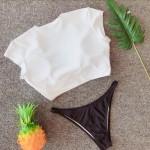 Фото Купальник раздельный  бело-чёрный мягкая чашка с вкладышем плавки бразилиана 154-18-1