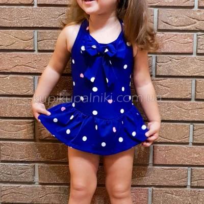Купальник детский слитный синий в белый горошек 161-01