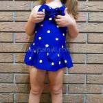 Фото Купальник детский слитный синий в белый горошек 161-01