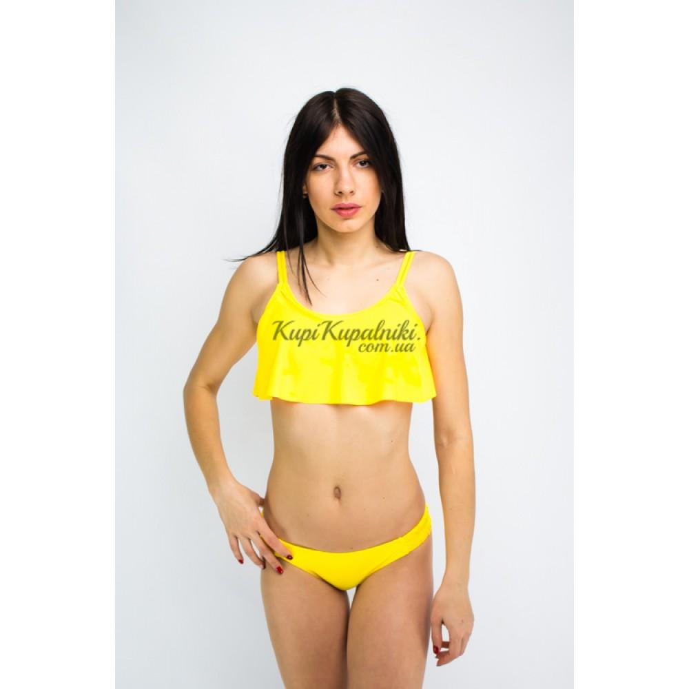 Фото Купальник раздельный бикини мягкая чашка с вкладышем  с воланом плавки бразилиана жёлтый 135-52