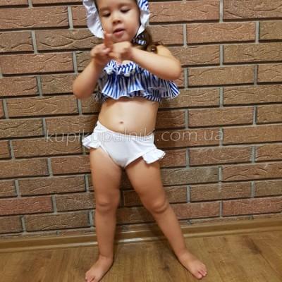 Купальник детский раздельный полосатый лиф белые плавки 161-08