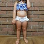 Фото Купальник детский раздельный полосатый лиф белые плавки 161-08